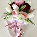 Burgundy Rose Fsaux Flower  Wedding Bouquet Set