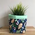 Small fabric planter | Storage basket | Pot cover | TROPICAL BIRDS