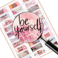 Pink Positivity Quote Planner stickers Digital Download