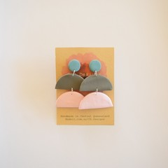 Neutral Pastel 3 piece polymer clay stud earrings #6