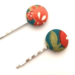 Fabric Button Hair Clip - Forest Green and Coral, Fabric Bobby Pins Woman