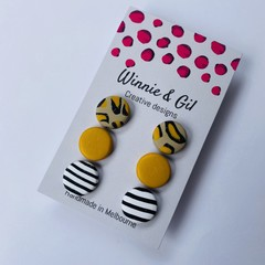 3 pack brown and mustard leopard studs