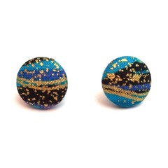 12 mm Fabric Stud Earrings in blue, black and gold w/ metallic swirls and specs
