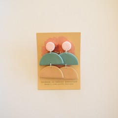 Neutral Pastel 3 piece polymer clay stud earrings #8