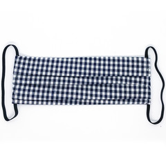 Gorgeous Gingham Mini Me – Navy (3mm) - Pleated Face Mask