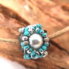 Adjustable Bracelet in Turquoise and Silver, Boho Bracelet, Stack Bracelet, Bead