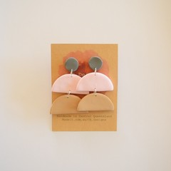 Neutral Pastel 3 piece polymer clay stud earrings #7