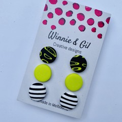 3 pack black and wasabi green studs