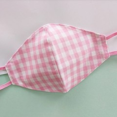 Fabric face mask - reversible pink gingham