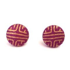 Purple and Gold Fabric Button Earrings on Surgical Stainless Steel Post