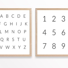 Modern Nursery Alphabet & Numbers Printable Set of 2