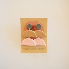 Neutral Pastel 3 piece polymer clay stud earrings #9