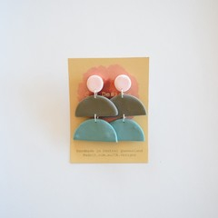 Neutral Pastel 3 piece polymer clay stud earrings #2
