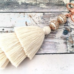 Tassel Bag Charm / Boho Keychain / Gift for the Bride - Natural