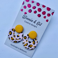 Pink and mustard leopard layered studs