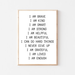 Nursery Printable Quote 'I Am Brave'