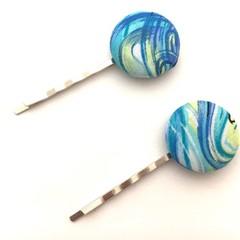 Fabric Button Hair Clip for Women - Blue Swirl Print, Hair Slider for Ladies