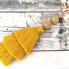 Cotton Tiered Tassel Bag Charm / Boho Key chain / Bridesmaid Gifts - Yellow
