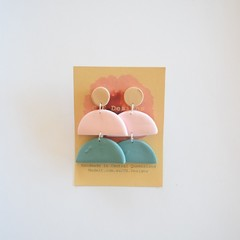 Neutral Pastel 3 piece polymer clay stud earrings #1