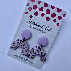 Purple u shape dangle earrings