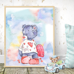 Watercolour Bear One Printable
