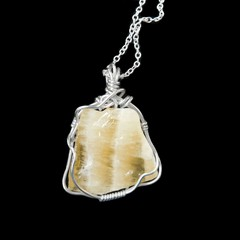 Yellow Calcite unisex pendant Sterling silver wire wrapped