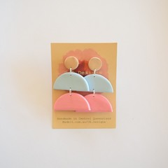 Neutral Pastel 3 piece polymer clay stud earrings #4