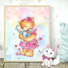 Watercolour Bear Three Customise Printable