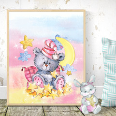 Watercolour Bear Two Customise Printable