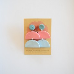 Neutral Pastel 3 piece polymer clay stud earrings #3