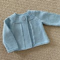 Blue Cardigan - Size 6-12 months - Wool/Cashmere blend - Hand knitted