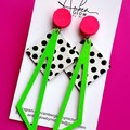 Neon, Genuine Leather, Dangle Stud Earrings
