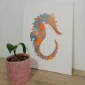 """Stella the Seahorse"" original hand painted acrylic silhouette artwork large"