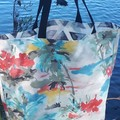 WATERCOLOUR/DARK GREY AND WHITE REVERSIBLE TOTE