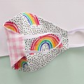 Fabric face mask - Rainbows / Pink gingham