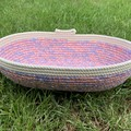 Rope Basket - with Orange and Blue Geometric Fabric (Oblong)