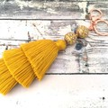 Cotton Tiered Tassel Bag Charm / Boho Key chain / Bridesmaid Gifts - Yellow