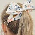 Grey and pink monochrome Bow Ear Saver for Ear Loop Face Masks