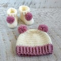 Dusty Rose & Cream Handmade Crochet Knitted Newborn Pompom Baby Beanie Hat