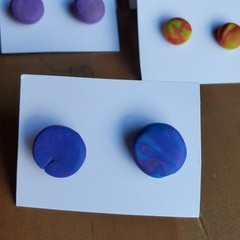 Colourful earring studs - Round L