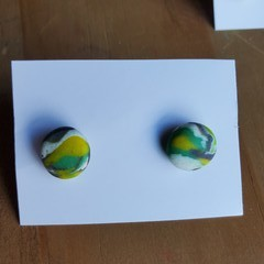 Colourful earring studs - Round P