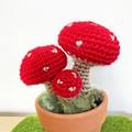 Crochet Toadstool in Terra-Cotta Pot, Potted Amigurumi Mushroom