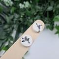 Ink Spot Cow Patch Glittering Cirlce Stud earrings - Handcrafted earrings