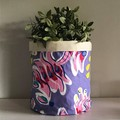 Large round fabric planter | Storage basket | Pot cover | BRIGHT FLORALS