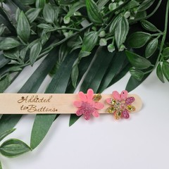 Musk Pink  Sparkle Flower Power Glitter Resin Button Stud Earrings