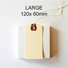 LARGE Shipping Tags {50} 120x 60mm Strung Manila | Vintage Style Shipping Tags