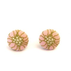 Tiny Fabric Stud Earrings - Pink and Green