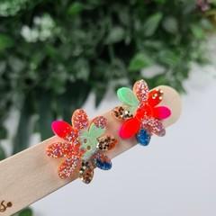 Spring Zest Flower Power Glitter Resin Button Stud Earrings