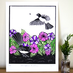 Willie Wagtail Original Lino Cut Print / Australian Bird Print
