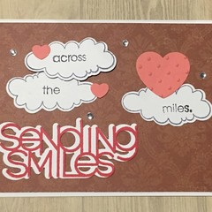 Sending smiles Handmade Card - social distancing virtual hugs